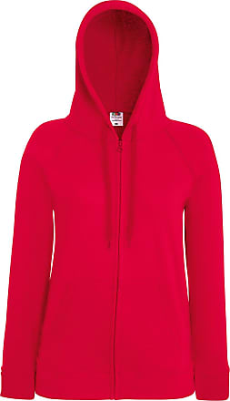 Fruit Of The Loom Lady-fit Lightweight Hooded Sweatshirt Jacket Self-Coloured (X-Large - 16, Red)