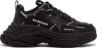 Balenciaga Triple S Faux-leather And Mesh Trainers - Womens - Black
