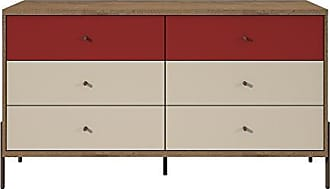 Manhattan Comfort 350591 Joy Series Bedroom Dresser, Red/Off-White