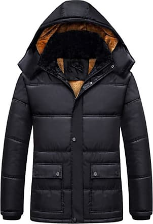 Inlefen Mens Winter Leisure Cotton Coat Black Padded Keep Warm Windproof Business Jacket with Removable Hood(Black/5XL)