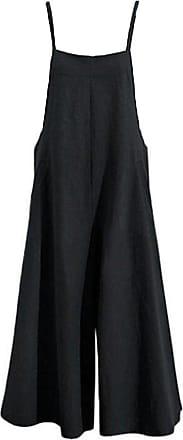 Hellomiko Women Summer Loose Linen Suspender Dungarees,Overalls Jumpsuit Bib Trousers Wide Leg Pants Plus Size Black