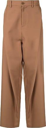 Yoshiokubo twill wide leg trousers - Brown