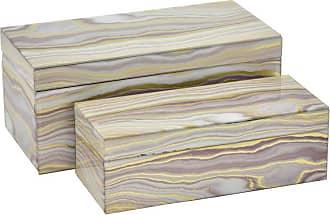 Three Hands 2 Piece Brown Marbled Glass Box Set - 32939