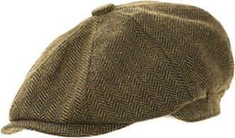 Hawkins Mens 8-Panel Herringbone Newsboy Gatsby Style Flat Caps - Huge Variety (58cm, H92 - Brown)