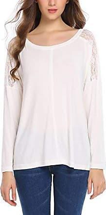 Damen Freizeit Schulterfrei Langarmshirt Sweatshirt Bluse Casual Longshirt Top