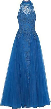Badgley Mischka Badgley Mischka Woman Bow-embellished Corded Lace And Tulle Gown Azure Size 8