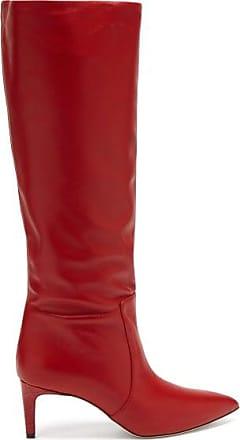 PARIS TEXAS Crocodile-effect Heel Leather Knee-high Boots - Womens - Red