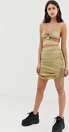 ZYA The Label mini skirt with ruched sides-Beige