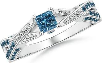 Angara Valentine Day Sale - Princess-Cut Enhanced Blue Diamond Crossover Engagement Ring