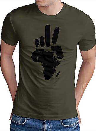 OM3 Peace Africa - T-Shirt Frieden PACE Paix Blood Diamonds Refugees Europe, XXL, Olive
