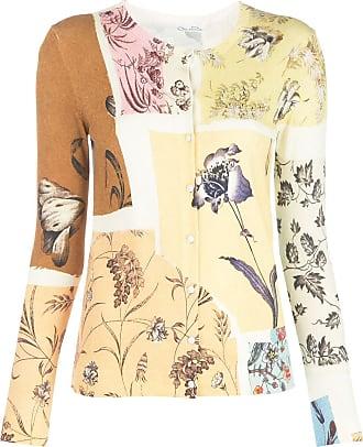 Oscar De La Renta Swatch Book patchwork-design cardigan - Yellow