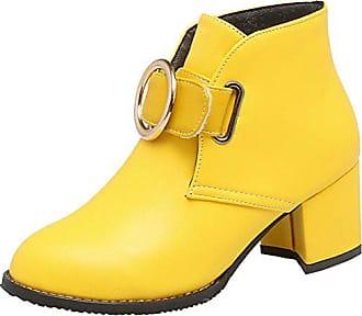 44b821cc10d Aiyoumei Damen Blockabsatz Herbst Winter Stiefeletten mit Klettverschluss  und 5cm Absatz Kurzschaft Stiefel