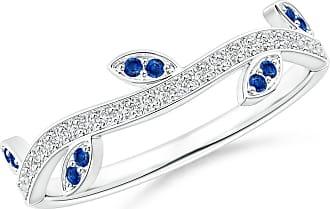 Angara Valentine Day Sale - Blue Sapphire Vine and Leaf Curved Wedding Band