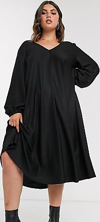 Asos Curve ASOS DESIGN Curve - Vestito midi svasato testurizzato nero con scollo a V-Bianco