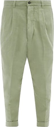 Ami Ami - Cropped Cotton-twill Trousers - Mens - Green