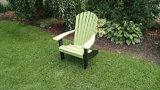 A & L Furniture A & L Furniture Poly Fanback Adirondack Chair with Black Frame, Lime