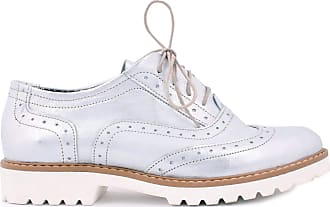 Zapato Womens Leather Oxford Shoes Model 258 Silver