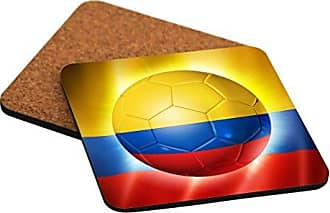 Rikki Knight Brazil World Cup 2014 Colombia Team Football Soccer Flag Design - Cork Backed Hard Square Beer Coasters (x2)