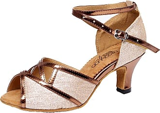 Find Nice Ladies Fashion Low Heel Peep Toe Latin Salsa Tango Cha-Cha Party Dance-shoes7072 Brown 4.5 UK