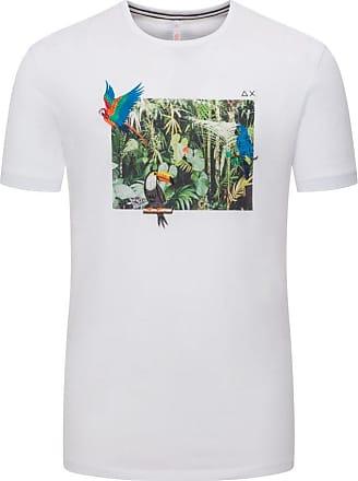 Sun 68 Übergröße : Sun 68, T-Shirt mit Dschungelprint in Weiss für Herren