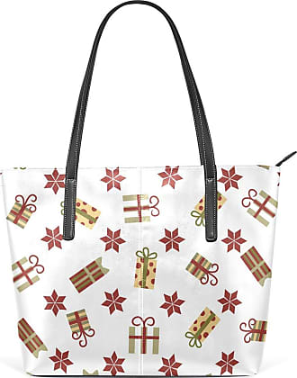 NaiiaN Happy for Women Girls Ladies Student Tote Bag Purse Shopping Light Weight Strap Handbags Leather Gift Pattern Christmas Snowflake Shoulder Bags