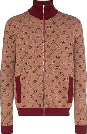 23919b9e1 Gucci high-neck GG print knitted bomber jacket - Red