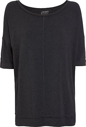 Jockey Womens 3/4 Sleeve Shirt, Black Melange, Size L