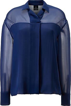 Madeleine Seidenhemd mit Transparenz in blau MADELEINE Gr 34, nachtblau für Damen. Waschbar