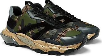 Valentino Valentino Garavani Bounce Leather, Suede And Mesh Sneakers - Army green