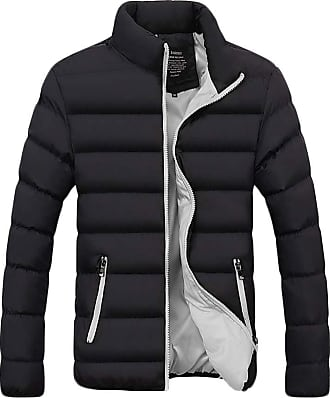 Yonglan Mens Transitional Jacket Classic Casual Lightweight Mix Standing Collar Quilted Jacket Grey L
