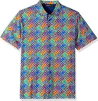 Bugatchi Mens Soft Finish Trim Fit Diagonal Printed Polo Shirt, Candy, S