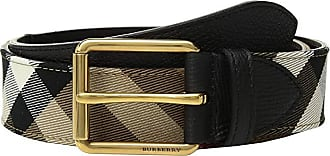 Burberry Grainy Leather House Check Belt (Black) Mens Belts