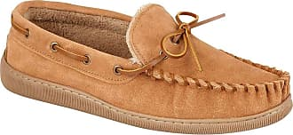 Northwest Territory MENS SUEDE LEATHER FUR LINED MENS MOCCASIN SLIPPER TAN 11