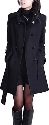 YOUJIA Long Trench Coat for Womens Stand Collar Double Breasted Winter Overcoats Belted Slim Fit Wool Blend Coat Parka (Black, CN 4XL)