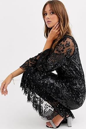 Needle & Thread sequin wrap tie midaxi dress with fluted sleeves in black