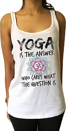 Irony Jersey Tank Top Yoga is The Answer Flowery OM- Yoga Meditation India Print JTK946 (Large) White