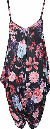 Islander Fashions Women Sleeveless Strappy Printed Lagenlook Romper Jumpsuit Ladies Fancy Cami Baggy Harem Playsuit Dress Black Floral Large/X Large