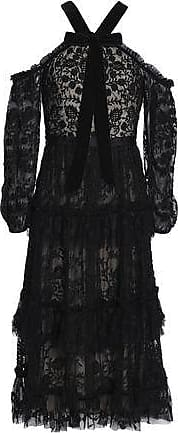 Needle & Thread Needle & Thread Woman Pussy-bow Tiered Embroidered Tulle Midi Dress Black Size 6