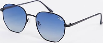 Quay Big Time hexagonal sunglasses in black with blue lens