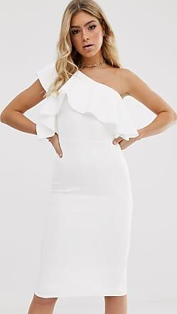 Asos Midi-jurk met één blote schouder en ruches-Wit