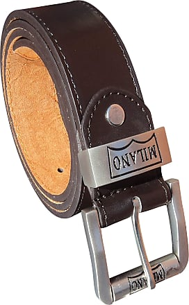 """MILANO REAL LEATHER BELT SILVER BUCKLE BLACK XXL 44-48/"""" 2910"""