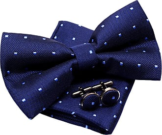 Retreez Retro Square Dots Woven Pre-tied Bow Tie (5) with matching Pocket Square and Cufflinks, Gift Box Set as a Christmas Gift, Birthday Gift - Navy Blue