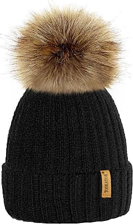 TOSKATOK Womens Winter Rib Knitted Hat/Beanie with Detachable Chunky Faux Fur Bobble Pom Pom - Available in 5 Colours