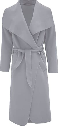ZEE FASHION Women Italian Long Sleeve Ladies Belted Trench Waterfall Coat Long Jacket Light Grey