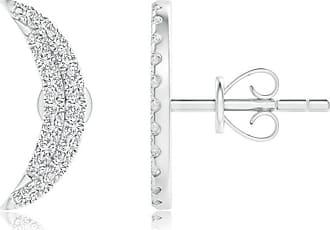 Angara Valentine Day Sale - Twin-Row Diamond Crescent Moon Stud Earrings