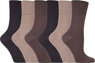 SockShop 6 Pairs Unisex IOMI Footnurse SockShop Loose Non Elastic Diabetic Socks for Swollen Legs with Hand Linked Toe Seams 4-8 uk 37-42 Eur (Brown)