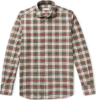 Incotex Ween Slim-fit Cutaway-collar Checked Cotton-flannel Shirt - Green