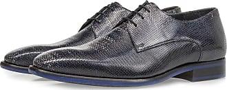 Floris Van Bommel Blauer Premium Lackleder-Schnürschuh mit Print, Business Schuhe, Designer Schuh, Handgefertigt