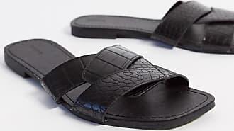 Pimkie moc croc flat sandals in black