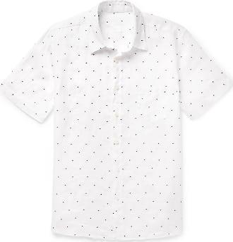 120% CASHMERE Embroidered Polka-dot Linen Shirt - White